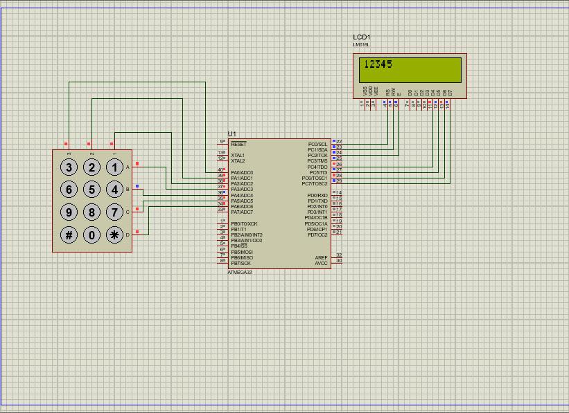 دریافت کدنویسی نوشتن اعداد روی LCD توسط کی پد در محیط پروتئوس و زبان C در محیط کدویژن