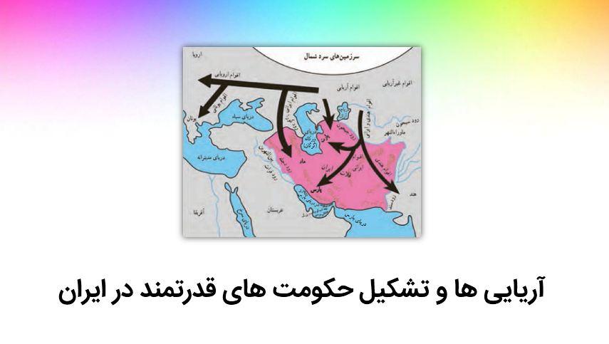 دریافت پاورپوینت آریایی ها و تشکیل حکومت های قدرتمند در ایران (درس ۱۹ – مطالعات پایه هفتم)